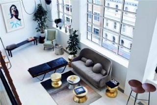 清新客廳白色圓茶幾室內裝修效果圖