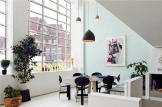現代清新銅色長吊燈客廳室內裝修效果圖
