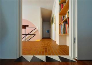 現代清雅客廳深色格子地板室內裝修效果圖