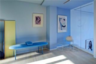 現代時尚客廳藍色家具室內裝修效果圖