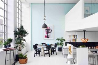 現代清新文雅客廳黑色吊燈室內裝修效果圖