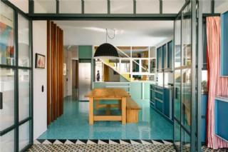 現代時尚客廳藍綠色地板室內裝修效果圖