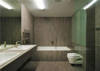現代衛生間木制背景墻室內裝修效果圖