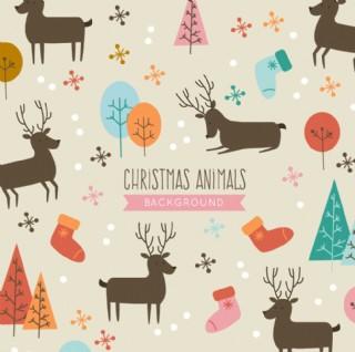 可愛的圣誕動物背景