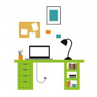 卡通沒有椅子的書房矢量圖片