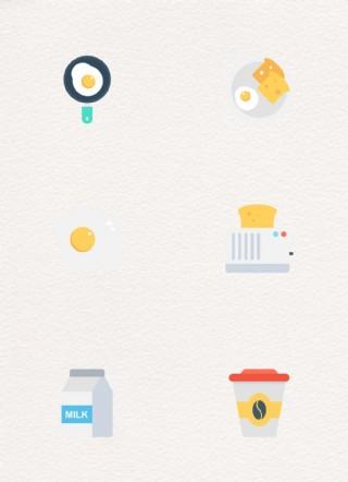 扁平早餐圖標元素