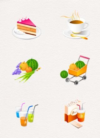 韓國卡通風食品圖標元素