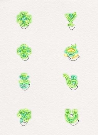 卡通綠色發光燈管效果生活元素