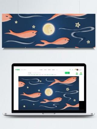 皓月當空卡通星空插畫背景設計