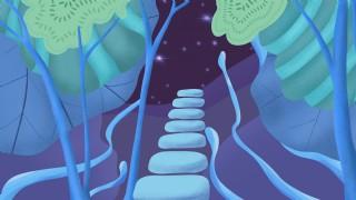 漸變唯美通往星空天梯背景設計