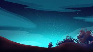 美麗星空下的山和大樹背景設計