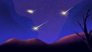 唯美璀璨夜空和流星雨插畫背景