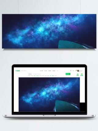 夜空極光星空手繪背景圖